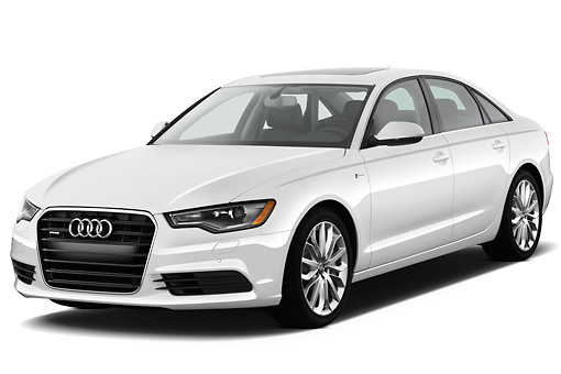 AUT 48 IZ0063 01 © Kimball Stock 2013 Audi A6 Premium Plus White 3/4 Front View On White Seamless