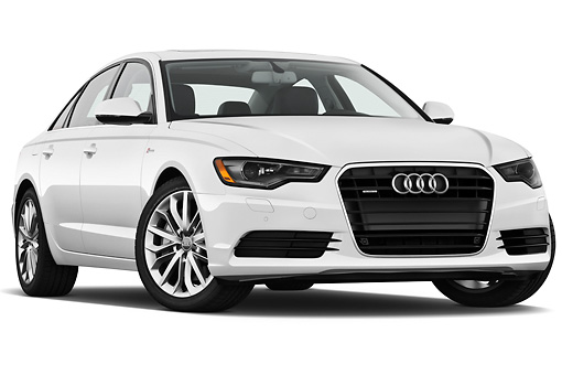 AUT 48 IZ0065 01 © Kimball Stock 2013 Audi A6 Premium Plus White 3/4 Front View On White Seamless