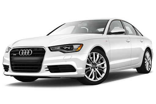 AUT 48 IZ0066 01 © Kimball Stock 2013 Audi A6 Premium Plus White 3/4 Front View On White Seamless