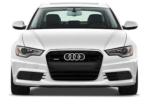 AUT 48 IZ0067 01 © Kimball Stock 2013 Audi A6 Premium Plus White Front View On White Seamless