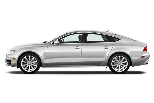 AUT 48 IZ0068 01 © Kimball Stock 2013 Audi A7 Silver Profile View On White Seamless