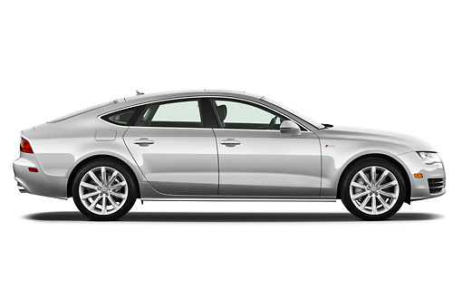 AUT 48 IZ0070 01 © Kimball Stock 2013 Audi A7 Silver Profile View On White Seamless