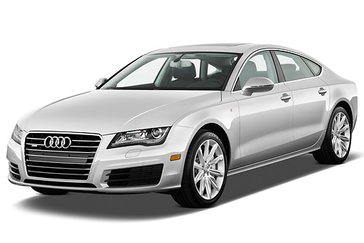 AUT 48 IZ0071 01 © Kimball Stock 2015 Audi A7 Silver 3/4 Front View On White Seamless