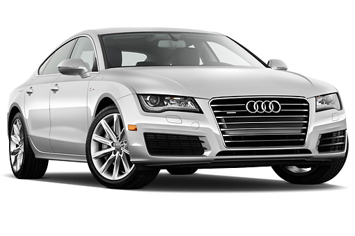 AUT 48 IZ0072 01 © Kimball Stock 2015 Audi A7 Silver 3/4 Front View On White Seamless