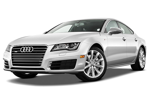 AUT 48 IZ0073 01 © Kimball Stock 2015 Audi A7 Silver 3/4 Front View On White Seamless