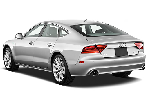 AUT 48 IZ0074 01 © Kimball Stock 2015 Audi A7 Silver 3/4 Rear View On White Seamless