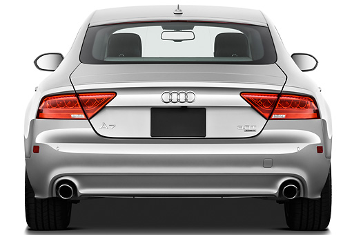 AUT 48 IZ0076 01 © Kimball Stock 2015 Audi A7 Silver Rear View On White Seamless