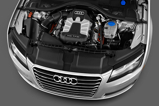 AUT 48 IZ0077 01 © Kimball Stock 2013 Audi A7 Silver Engine Detail In Studio