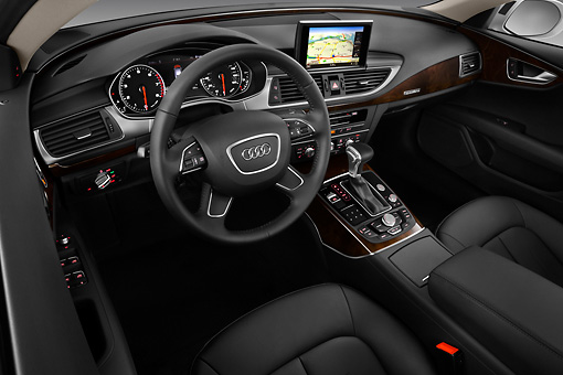 AUT 48 IZ0078 01 © Kimball Stock 2013 Audi A7 Silver Interior Detail In Studio