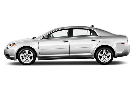 AUT 48 IZ0090 01 © Kimball Stock 2012 Chevrolet Malibu 1LS Silver Profile View On White Seamless