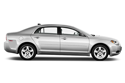 AUT 48 IZ0091 01 © Kimball Stock 2012 Chevrolet Malibu 1LS Silver Profile View On White Seamless