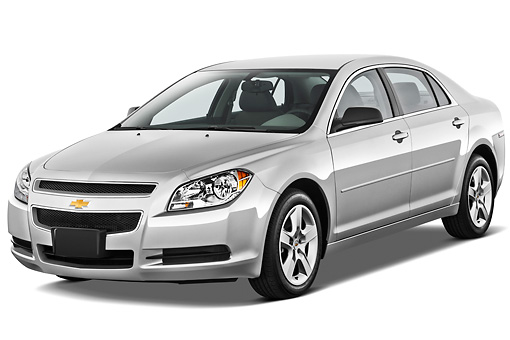 AUT 48 IZ0092 01 © Kimball Stock 2012 Chevrolet Malibu 1LS Silver 3/4 Front View On White Seamless