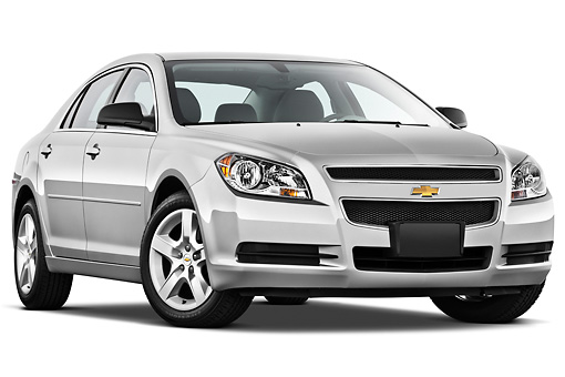 AUT 48 IZ0093 01 © Kimball Stock 2012 Chevrolet Malibu 1LS Silver 3/4 Front View On White Seamless