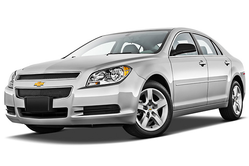 AUT 48 IZ0094 01 © Kimball Stock 2012 Chevrolet Malibu 1LS Silver 3/4 Front View On White Seamless