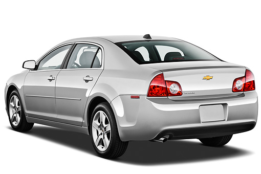 AUT 48 IZ0095 01 © Kimball Stock 2012 Chevrolet Malibu 1LS Silver 3/4 Rear View On White Seamless