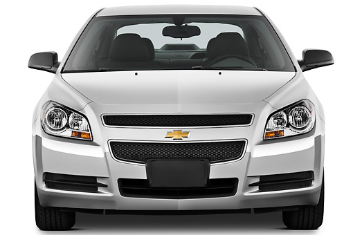 AUT 48 IZ0096 01 © Kimball Stock 2012 Chevrolet Malibu 1LS Silver Front View On White Seamless