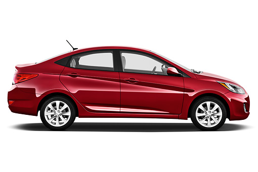 AUT 48 IZ0099 01 © Kimball Stock 2012 Hyundai Accent GLS Sedan Red Profile View On White Seamless