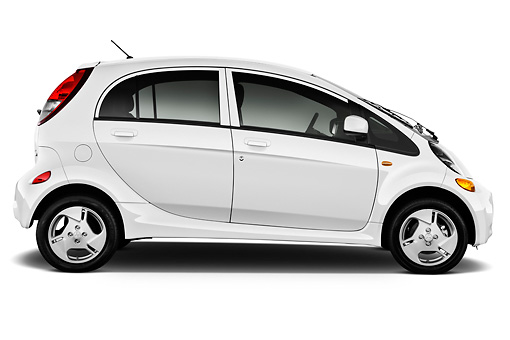 AUT 48 IZ0107 01 © Kimball Stock 2012 Mitsubishi MiEV SE White Profile View On White Seamless