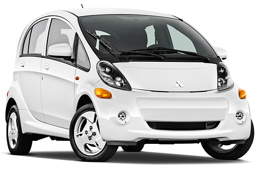 AUT 48 IZ0109 01 © Kimball Stock 2012 Mitsubishi MiEV SE White 3/4 Front View On White Seamless