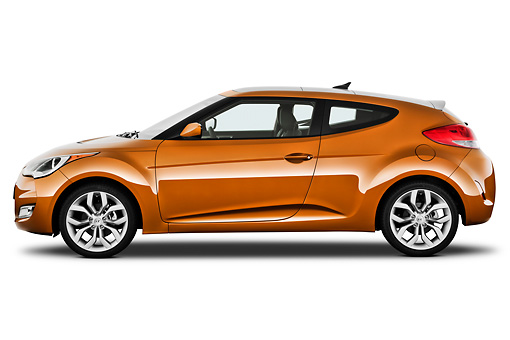 AUT 48 IZ0117 01 © Kimball Stock 2012 Hyundai Veloster Orange Profile View On White Seamless