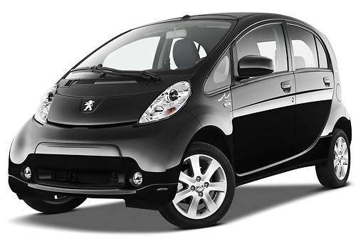 AUT 48 IZ0128 01 © Kimball Stock 2012 Peugeot iOn Black 3/4 Front View On White Seamless