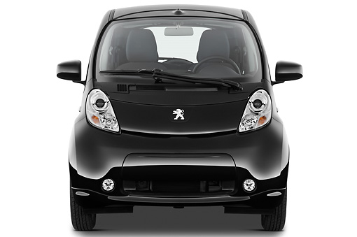 AUT 48 IZ0132 01 © Kimball Stock 2012 Peugeot iOn Black Front View On White Seamless