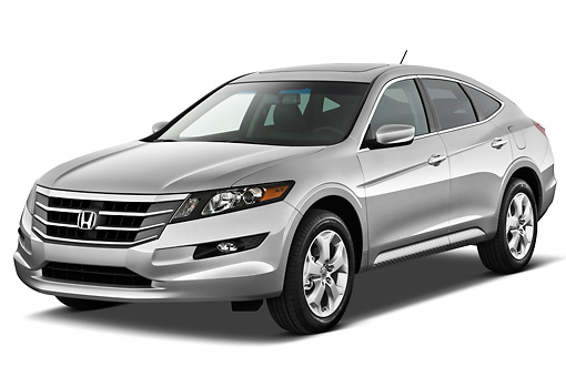 AUT 48 IZ0143 01 © Kimball Stock 2012 Honda Crosstour EXL Silver 3/4 Front View On White Seamless