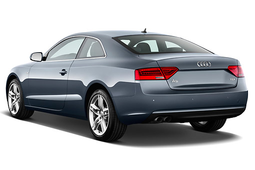 AUT 48 IZ0153 01 © Kimball Stock 2012 Audi A5 S Line Coupe Blue 3/4 Rear View On White Seamless
