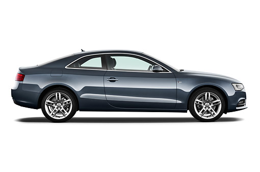 AUT 48 IZ0154 01 © Kimball Stock 2012 Audi A5 S Line Coupe Blue Profile View On White Seamless