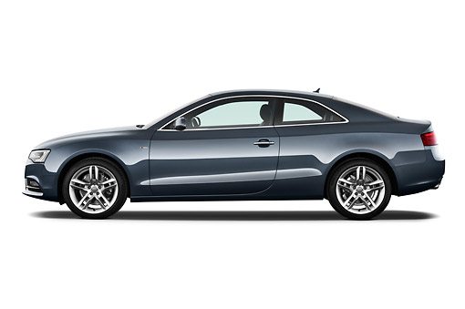 AUT 48 IZ0155 01 © Kimball Stock 2012 Audi A5 S Line Coupe Blue Profile View On White Seamless