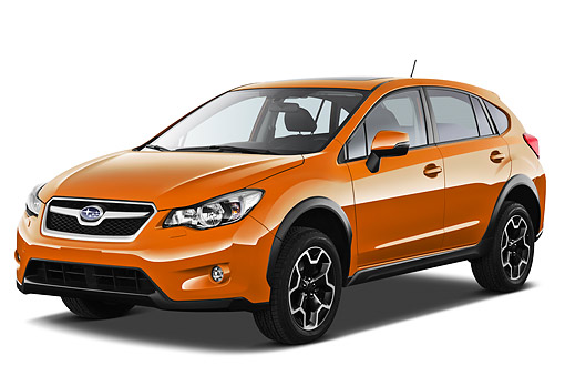 AUT 48 IZ0159 01 © Kimball Stock 2012 Subaru XV Crosstrek Orange 3/4 Front View On White Seamless