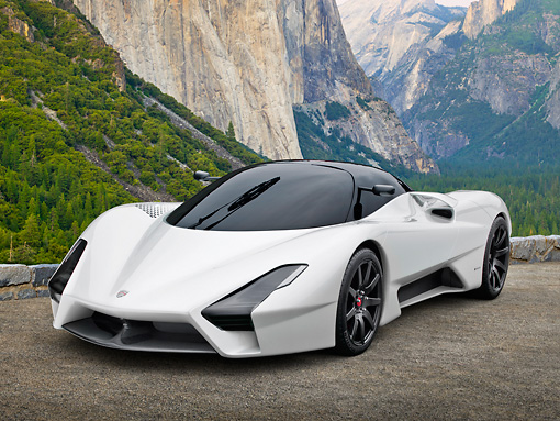 AUT 48 RK0039 01 © Kimball Stock 2012 Shelby SSC Tuatara Next Generation Supercar White 3/4 Front View On Dirt By Mountains