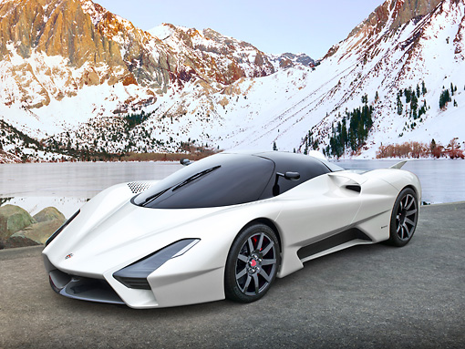 AUT 48 RK0040 01 © Kimball Stock 2012 Shelby SSC Tuatara Next Generation Supercar White 3/4 Front View On Pavement By Lake And Snowy Mountains