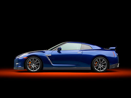 AUT 48 RK0045 01 © Kimball Stock 2012 Nissan GT-R Deep Blue Pearl Profile View In Studio