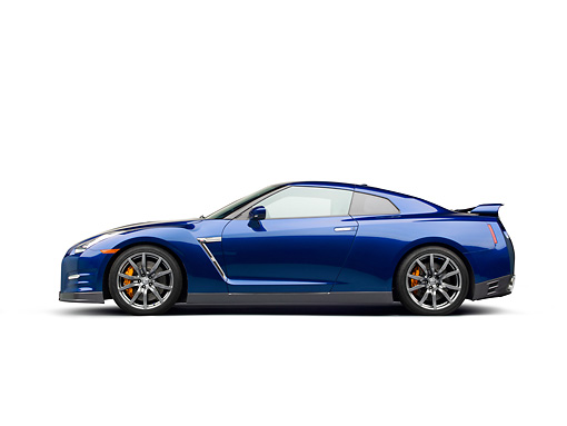 AUT 48 RK0066 01 © Kimball Stock 2012 Nissan GT-R Deep Blue Pearl Profile View On White Seamless