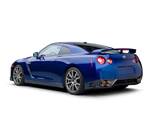AUT 48 RK0068 01 © Kimball Stock 2012 Nissan GT-R Deep Blue Pearl 3/4 Rear View On White Seamless