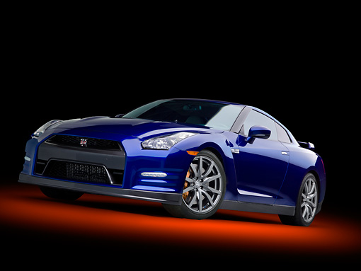 AUT 48 RK0069 01 © Kimball Stock 2012 Nissan GT-R Deep Blue Pearl 3/4 Side View In Studio
