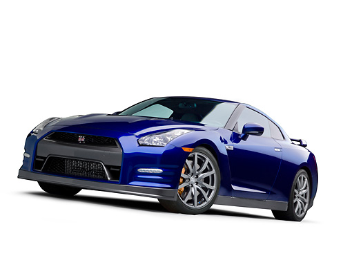 AUT 48 RK0070 01 © Kimball Stock 2012 Nissan GT-R Deep Blue Pearl 3/4 Side View On White Seamless