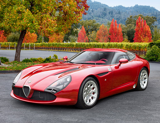 AUT 48 RK0108 01 © Kimball Stock 2012 Alfa Romeo TZ3 Stradale Red 3/4 Front View On Pavement By Autumn Vineyard