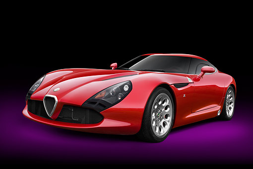 AUT 48 RK0109 01 © Kimball Stock 2012 Alfa Romeo TZ3 Stradale Red 3/4 Front View In Studio