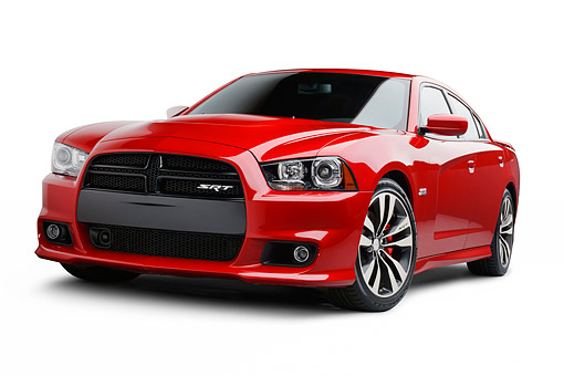 AUT 49 BK0004 01 © Kimball Stock 2013 Dodge Charger SRT8 Red 3/4 Front View On White Seamless