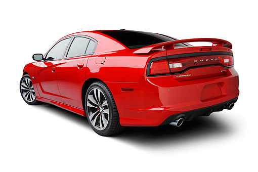 AUT 49 BK0005 01 © Kimball Stock 2013 Dodge Charger SRT8 Red 3/4 Rear View On White Seamless