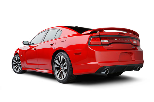 AUT 49 BK0006 01 © Kimball Stock 2013 Dodge Charger SRT8 Red 3/4 Rear View On White Seamless