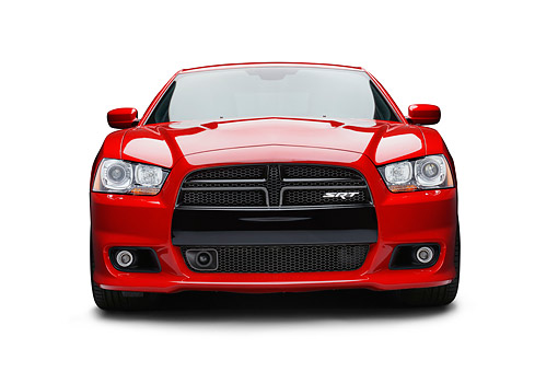 AUT 49 BK0009 01 © Kimball Stock 2013 Dodge Charger SRT8 Red Front View On White Seamless