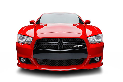 AUT 49 BK0010 01 © Kimball Stock 2013 Dodge Charger SRT8 Red Front View On White Seamless