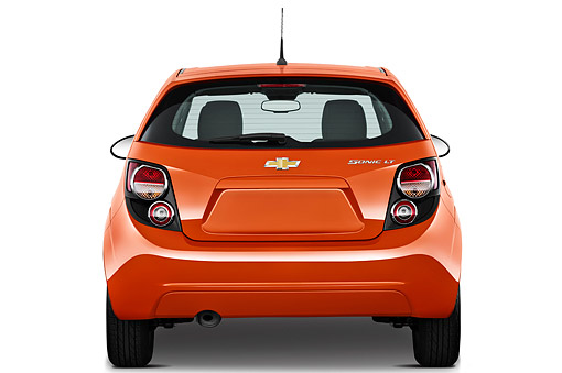 AUT 49 IZ0016 01 © Kimball Stock 2013 Chevrolet Sonic LT 5-Door Hatchback Orange Rear View On White Seamless