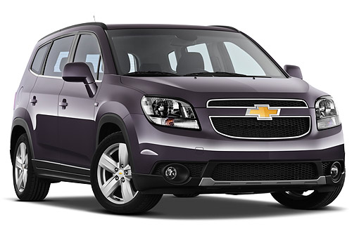 AUT 49 IZ0035 01 © Kimball Stock 2013 Chevrolet Orlando LTZ+ MPV Purple 3/4 Front View On White Seamless