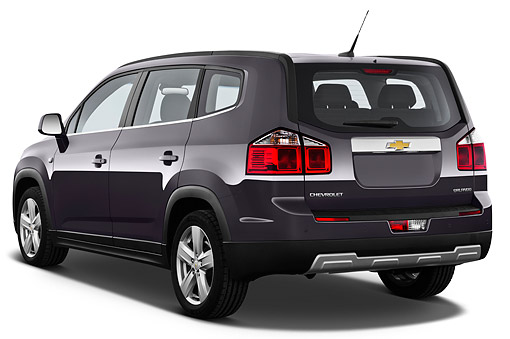 AUT 49 IZ0037 01 © Kimball Stock 2013 Chevrolet Orlando LTZ+ MPV Purple 3/4 Rear View On White Seamless