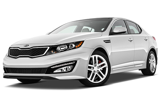 AUT 49 IZ0045 01 © Kimball Stock 2013 Kia Optima SXL Sedan White 3/4 Front View On White Seamless