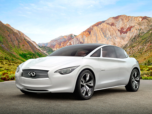 AUT 49 RK0002 01 © Kimball Stock 2013 Infiniti Etherea White 3/4 Front View On Pavement By Mountains